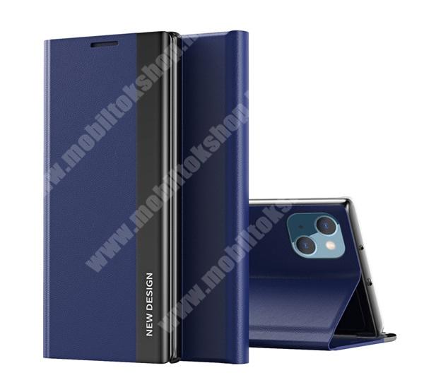 View Window ablakos notesz tok / flip tok - SÖTÉTKÉK - oldalra nyíló, asztali tartó funkciós, rejtett mágneses záródás, műanyag belső - APPLE iPhone 13 mini