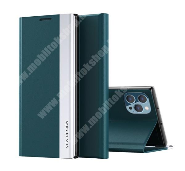 View Window ablakos notesz tok / flip tok - SÖTÉTZÖLD - oldalra nyíló, asztali tartó funkciós, rejtett mágneses záródás, műanyag belső - APPLE iPhone 13 Pro Max