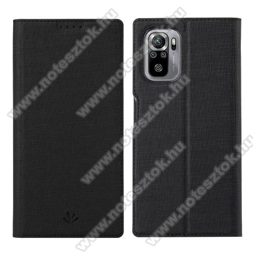 VILI DMX SLIM DESIGN notesz / mappa tok - FEKETE - oldalra nyíló flip cover, asztali tartó funkció, mágneses záródás, szilikon belső - Xiaomi Redmi Note 10 / Redmi Note 10S - GYÁRI