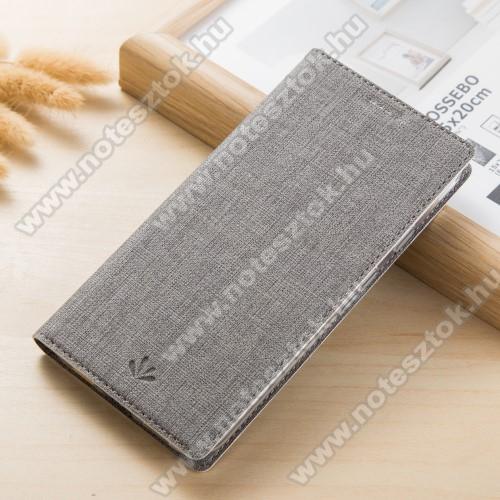 VILI DMX SLIM DESIGN notesz / mappa tok - SZÜRKE - oldalra nyíló flip cover, asztali tartó funkció, mágneses záródás - Sony Xperia XZ1 Compact - GYÁRI