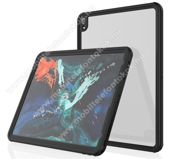 Vízálló Műanyag védő tok / átlátszó hátlap - 3 méterig, IP68-as védelem, szilikon betétes- ERŐS VÉDELEM! - FEKETE - APPLE iPad Pro 12.9 (2018)