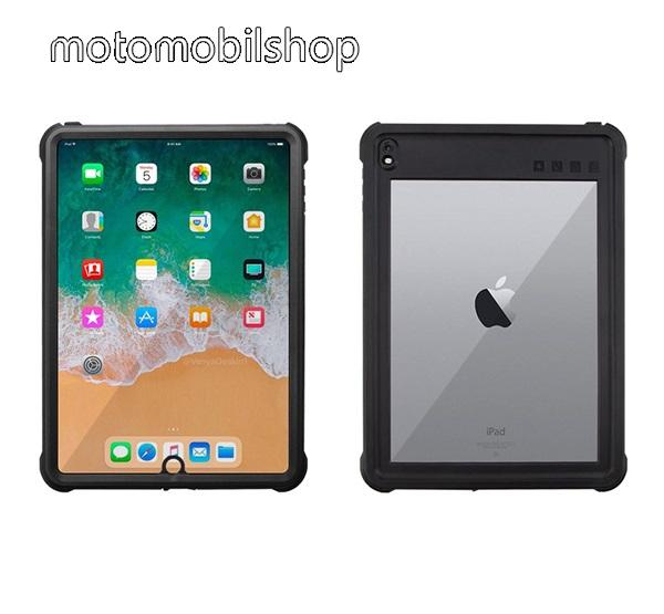 Vízálló Műanyag védő tok / átlátszó hátlap - 3 méterig, IP68-as védelem, szilikon betétes- ERŐS VÉDELEM! - FEKETE - APPLE iPad 9.7 (2017) (5. GENERÁCIÓS) / APPLE iPad 9.7 (2018) / iPad Air 2 / iPad Air / APPLE IPAD PRO 9.7