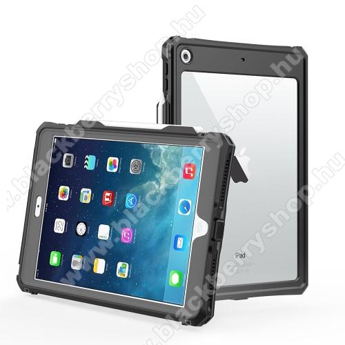 Vízálló Műanyag védő tok / hátlap - IP68-as védelem, szilikon betétes, kitámasztható, ceruza tartóval - ERŐS VÉDELEM! - FEKETE - APPLE iPad 10.2 (7th Generation) (2019) / iPad 10.2 (8th Generation) (2020)