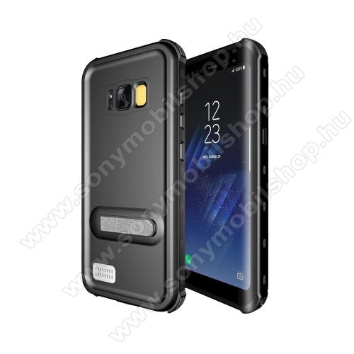 Vízálló tok - FEKETE - IP68-as szabvány, 2m mélységig használható, kitámasztható - SAMSUNG SM-G950 Galaxy S8
