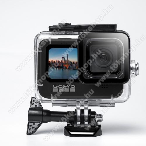 Vízálló védő tok GoPro Hero 9-hez - 45m-ig vízálló, műanyag - ÁTLÁTSZÓ