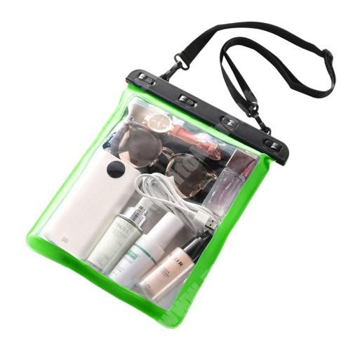 Vízhatlan / vízálló táska, AQUA - 30 méterig, vállpánt, 250 x 230mm - ZÖLD / ÁTLÁTSZÓ