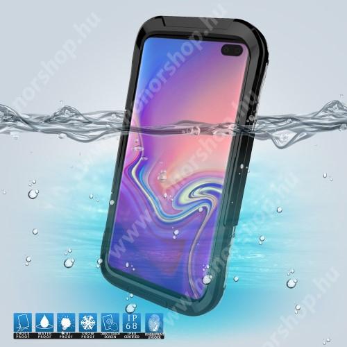 Vízhatlan / vízálló tok - 10m-ig vízálló, IP68 - FEKETE - SAMSUNG SM-G973F Galaxy S10