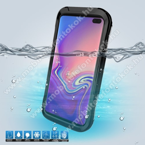 Vízhatlan / vízálló tok - 10m-ig vízálló, IP68 - FEKETE - SAMSUNG SM-G975F Galaxy S10+