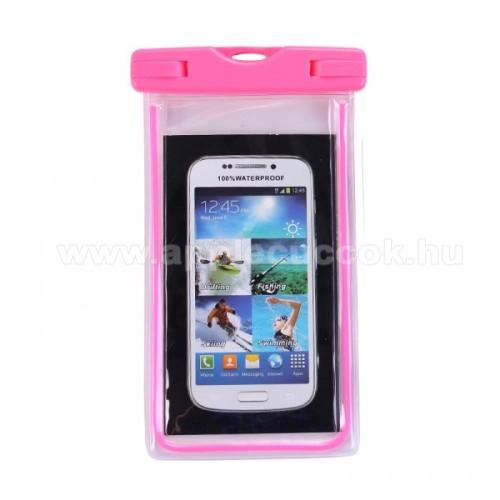 APPLE iPhone 7 PlusVízhatlan / vízálló tok, AQUA - 10 méterig, IPX8, nyakpánt, fluoreszkáló, 173 x 107 mm - RÓZSASZÍN