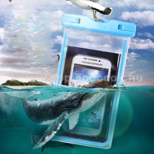 APPLE iPhone 7 PlusVízhatlan / vízálló tok, AQUA - 10 méterig, IPX8, nyakpánt, fluoreszkáló, 173 x 107 mm - KÉK