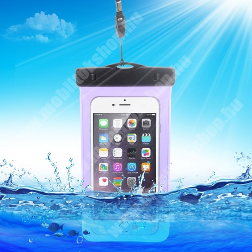 Vízhatlan/vízálló tok, AQUA - 10 méterig, IPX8, nyakpánt, 163 x 90mm - LILA
