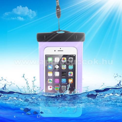 APPLE iPhone 7 PlusVízhatlan/vízálló tok, AQUA - 10 méterig, IPX8, nyakpánt, 163 x 90mm - LILA