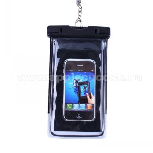 APPLE iPhone 7 PlusVízhatlan / vízálló tok, AQUA - 20 méterig, IPX8, nyakpánt, fluoreszkáló, 173 x 107mm - FEKETE