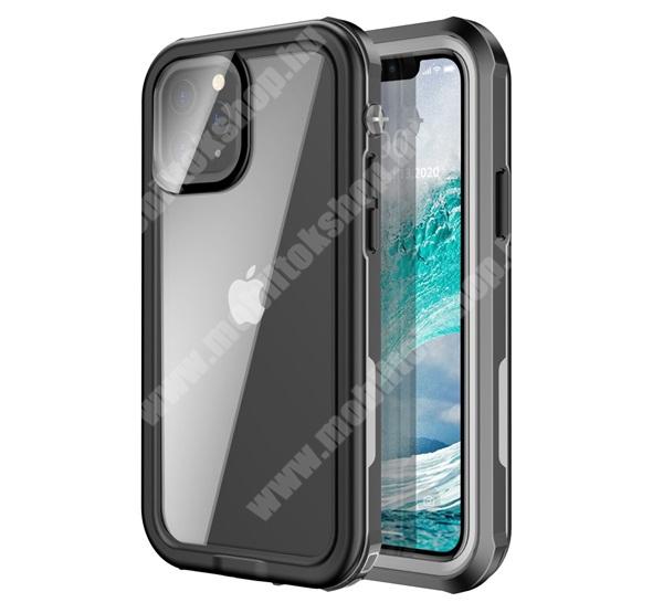 Vízhatlan / vízálló tok - AQUA 3m-ig vízálló, IP67, átlátszó hátlap, erősített sarkok, ERŐS VÉDELEM! - FEKETE - APPLE iPhone 12 mini
