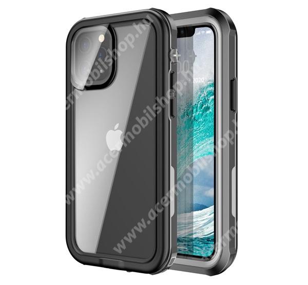 Vízhatlan / vízálló tok - AQUA 3m-ig vízálló, IP67, átlátszó hátlap, erősített sarkok, ERŐS VÉDELEM! - FEKETE - APPLE iPhone 12 / iPhone 12 Pro