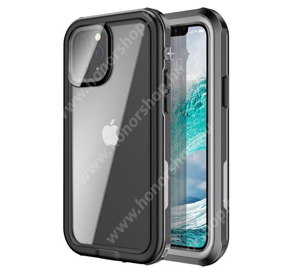Vízhatlan / vízálló tok - AQUA 3m-ig vízálló, IP67, átlátszó hátlap, erősített sarkok, ERŐS VÉDELEM! - FEKETE - APPLE iPhone 12 Pro Max
