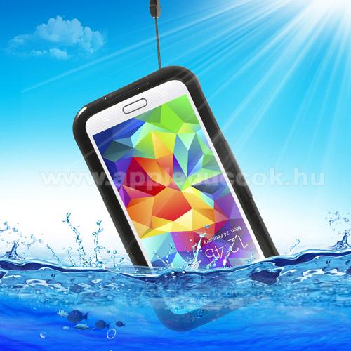 Vízhatlan / vízálló tok - nyakba akasztható, 6m mélységig vízálló - FEKETE / ÁTLÁTSZÓ - SAMSUNG SM-G900F Galaxy S5