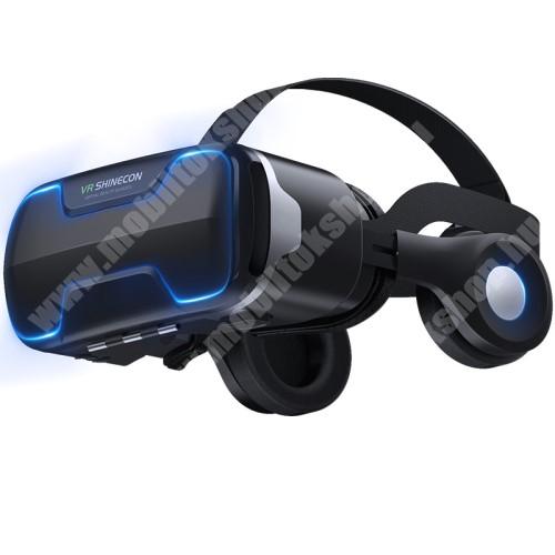 """MOTOROLA Moto G4 VR SHINECON G02ED videoszemüveg - VR 3D, filmnézéshez ideális, levehető headset, 42mm átmérőjű műgyanta lencse, 4-6"""" kijelzőhöz, 160mm x 88mm telefon befogadó keret, CSAK GIROSZKÓPPAL ELLÁTOTT OKOSTELEFONOKKAL MŰKÖDIK - FEKETE"""