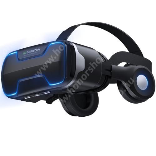 """VR SHINECON G02ED videoszemüveg - VR 3D, filmnézéshez ideális, levehető headset, 42mm átmérőjű műgyanta lencse, 4-6"""" kijelzőhöz, 160mm x 88mm telefon befogadó keret, CSAK GIROSZKÓPPAL ELLÁTOTT OKOSTELEFONOKKAL MŰKÖDIK - FEKETE"""