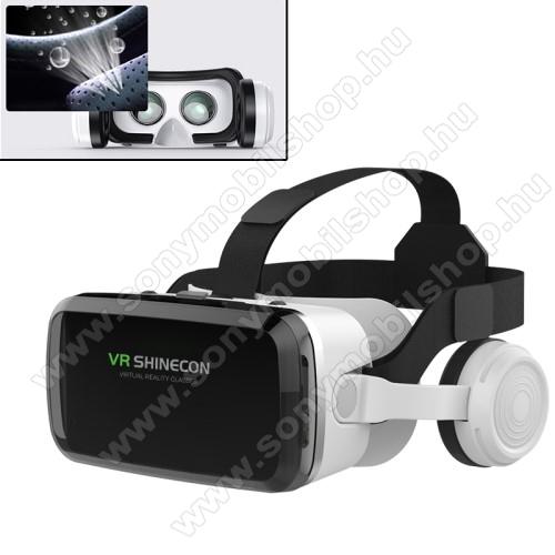 VR SHINECON G04BS videoszemüveg - VR 3D, filmnézéshez ideális, 100°-os látószög, bluetooth-os levehető headset, 40mm átmérőjű műgyanta lencse, 170mm x 85mm telefon befogadó keret, telefon befogadó keret, CSAK GIROSZKÓPPAL ELLÁTOTT OKOSTELEFONOKKAL MŰKÖDIK