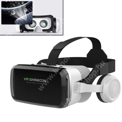 """VR SHINECON G04BS videoszemüveg - VR 3D, filmnézéshez ideális, 100°-os látószög, bluetooth-os levehető headset, 40mm átmérőjű műgyanta lencse, 4-6"""" kijelzőhöz, telefon befogadó keret, CSAK GIROSZKÓPPAL ELLÁTOTT OKOSTELEFONOKKAL MŰKÖDIK - FEKETE / FEHÉR"""