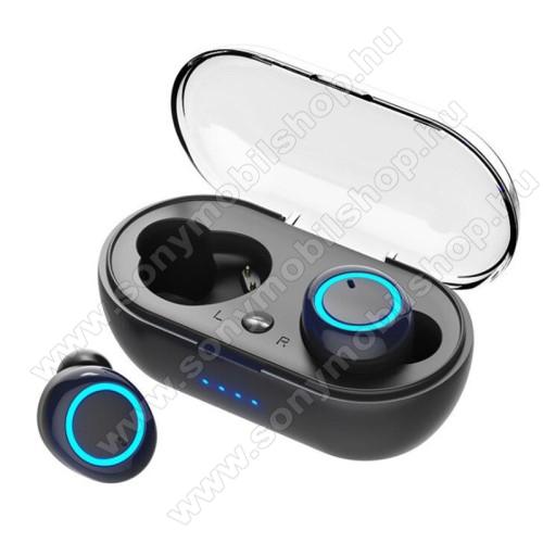 W12 TWS BLUETOOTH sztereó fülhallgató - V5.0, mikrofon, zajszűrő, 500mAh töltőtokkal,  5 óra használati idő, multifunkciós gomb, cseppálló - FEKETE
