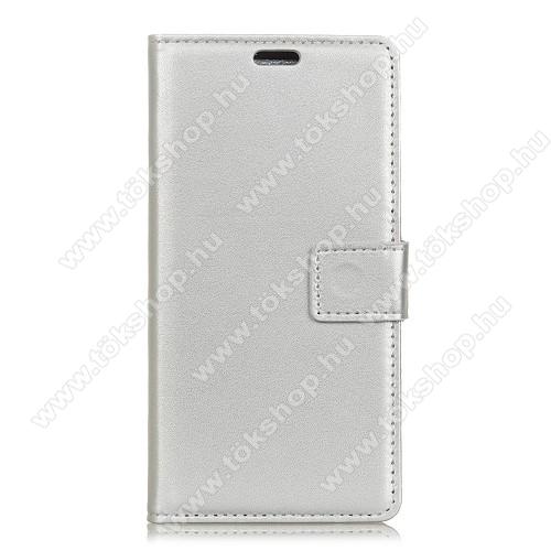 Wallet notesz / flip tok - EZÜST - oldalra nyíló, rejtett mágneses, álló, asztali tartó funkció, bankkártya tartó, szilikon belső - SAMSUNG SM-G965 Galaxy S9+