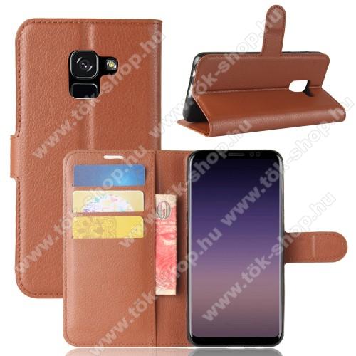 WALLET notesz tok / flip tok - BARNA - asztali tartó funkciós, oldalra nyíló, rejtett mágneses záródás, bankkártyatartó zseb, szilikon belső - SAMSUNG Galaxy A8 (2018)