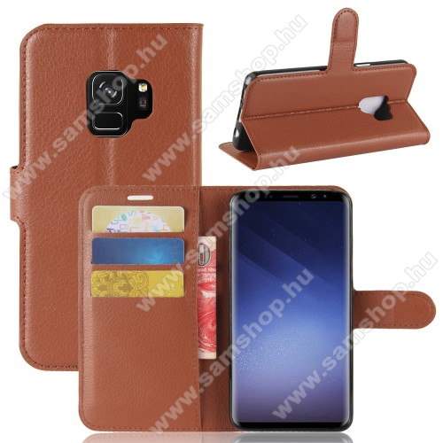 WALLET notesz tok / flip tok - BARNA - asztali tartó funkciós, oldalra nyíló, rejtett mágneses záródás, bankkártyatartó zseb, szilikon belső - SAMSUNG SM-G960 Galaxy S9