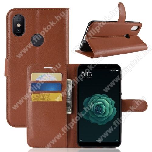 WALLET notesz tok / flip tok - BARNA - asztali tartó funkciós, oldalra nyíló, rejtett mágneses záródás, bankkártyatartó zseb, szilikon belső - Xiaomi Mi 6X / Xiaomi Mi A2