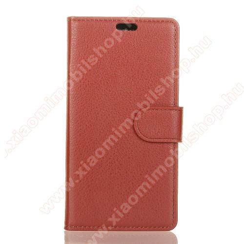 WALLET notesz tok / flip tok - BARNA - asztali tartó funkciós, oldalra nyíló, rejtett mágneses záródás, bankkártyatartó zseb, szilikon belső - Xiaomi Mi 8 SE