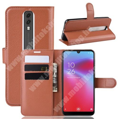 WALLET notesz tok / flip tok - BARNA - asztali tartó funkciós, oldalra nyíló, rejtett mágneses záródás, bankkártyatartó zseb, szilikon belső - Vodafone Smart V10