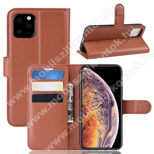 WALLET notesz tok / flip tok - BARNA - asztali tartó funkciós, oldalra nyíló, rejtett mágneses záródás, bankkártyatartó zseb, szilikon belső - APPLE iPhone 11 Pro Max