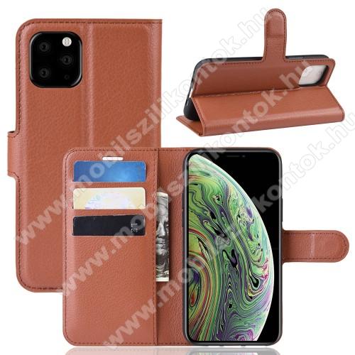 WALLET notesz tok / flip tok - BARNA - asztali tartó funkciós, oldalra nyíló, rejtett mágneses záródás, bankkártyatartó zseb, szilikon belső - APPLE iPhone 11 Pro