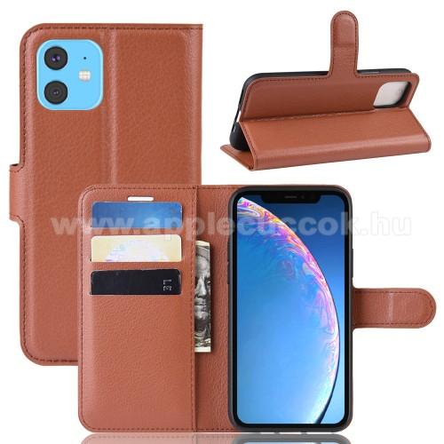 WALLET notesz tok / flip tok - BARNA - asztali tartó funkciós, oldalra nyíló, rejtett mágneses záródás, bankkártyatartó zseb, szilikon belső - APPLE iPhone 11