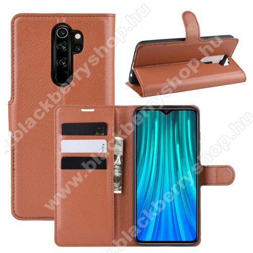WALLET notesz tok / flip tok - BARNA - asztali tartó funkciós, oldalra nyíló, rejtett mágneses záródás, bankkártyatartó zseb, szilikon belső - Xiaomi Redmi Note 8 Pro