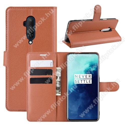 WALLET notesz tok / flip tok - BARNA - asztali tartó funkciós, oldalra nyíló, rejtett mágneses záródás, bankkártyatartó zseb, szilikon belső - OnePlus 7T Pro