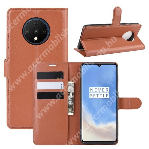WALLET notesz tok / flip tok - BARNA - asztali tartó funkciós, oldalra nyíló, rejtett mágneses záródás, bankkártyatartó zseb, szilikon belső - OnePlus 7T