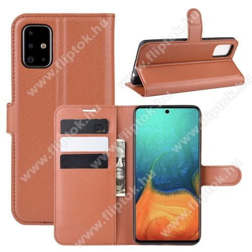 WALLET notesz tok / flip tok - BARNA - asztali tartó funkciós, oldalra nyíló, rejtett mágneses záródás, bankkártyatartó zseb, szilikon belső - SAMSUNG Galaxy A71 (SM-A715F)