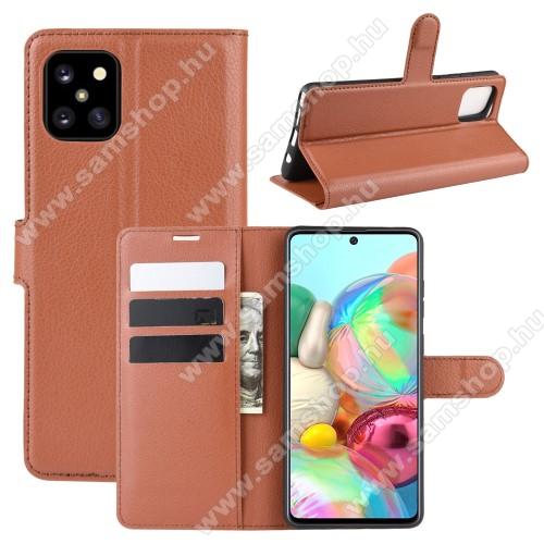 WALLET notesz tok / flip tok - BARNA - asztali tartó funkciós, oldalra nyíló, rejtett mágneses záródás, bankkártyatartó zseb, szilikon belső - SAMSUNG Galaxy Note10 Lite (SM-N770F)