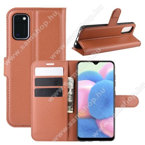 WALLET notesz tok / flip tok - BARNA - asztali tartó funkciós, oldalra nyíló, rejtett mágneses záródás, bankkártyatartó zseb, szilikon belső - SAMSUNG Galaxy A41 (SM-A415F)
