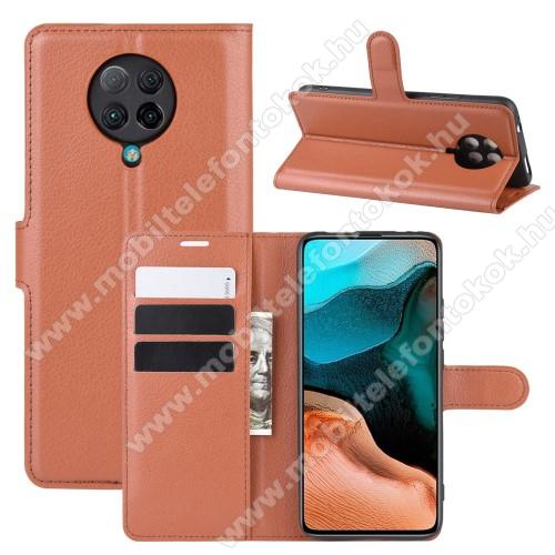 WALLET notesz tok / flip tok - BARNA - asztali tartó funkciós, oldalra nyíló, rejtett mágneses záródás, bankkártyatartó zseb, szilikon belső - Xiaomi Redmi K30 Pro / Xiaomi Redmi K30 Pro Zoom / Xiaomi Poco F2 Pro