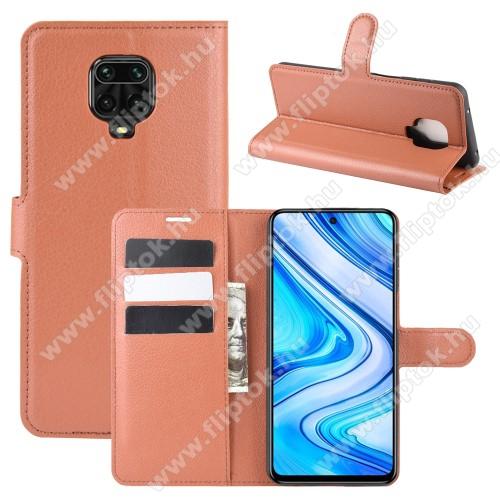 WALLET notesz tok / flip tok - BARNA - asztali tartó funkciós, oldalra nyíló, rejtett mágneses záródás, bankkártyatartó zseb, szilikon belső - Xiaomi Redmi Note 9S / Redmi Note 9 Pro / Redmi Note 9 Pro Max / Poco M2 Pro