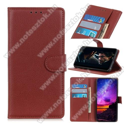 WALLET notesz tok / flip tok - BARNA - asztali tartó funkciós, oldalra nyíló, rejtett mágneses záródás, bankkártyatartó zseb, prémium, szilikon belső - Xiaomi Redmi 9A / Xiaomi Redmi 9AT