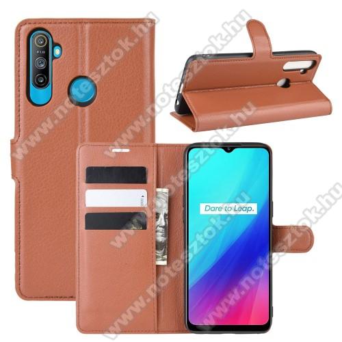 WALLET notesz tok / flip tok - BARNA - asztali tartó funkciós, oldalra nyíló, rejtett mágneses záródás, bankkártyatartó zseb, szilikon belső - Realme C3 (3 cameras) / Realme 5