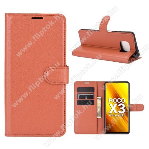 WALLET notesz tok / flip tok - BARNA - asztali tartó funkciós, oldalra nyíló, rejtett mágneses záródás, bankkártyatartó zseb, szilikon belső - Xiaomi Poco X3 / Poco X3 NFC / Poco X3 Pro