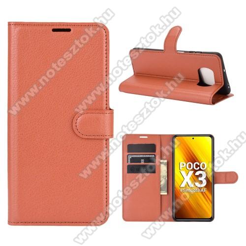 WALLET notesz tok / flip tok - BARNA - asztali tartó funkciós, oldalra nyíló, rejtett mágneses záródás, bankkártyatartó zseb, szilikon belső - Xiaomi Poco X3 / Poco X3 NFC