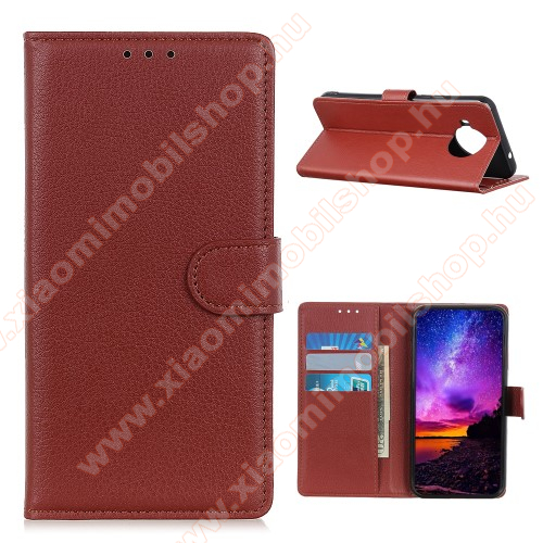 WALLET notesz tok / flip tok - BARNA - asztali tartó funkciós, oldalra nyíló, rejtett mágneses záródás, bankkártyatartó zseb, szilikon belső - Xiaomi Mi 10T Lite 5G
