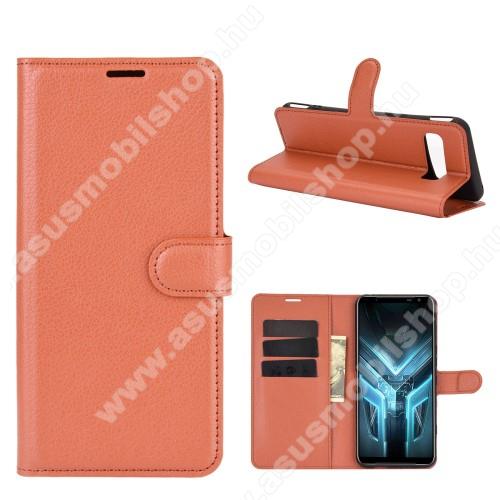 WALLET notesz tok / flip tok - BARNA - asztali tartó funkciós, oldalra nyíló, rejtett mágneses záródás, bankkártyatartó zseb, szilikon belső - ASUS ROG Phone 3 (ZS661KS) / ASUS ROG Phone 3 Strix