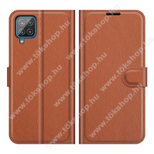 WALLET notesz tok / flip tok - BARNA - asztali tartó funkciós, oldalra nyíló, rejtett mágneses záródás, bankkártyatartó zseb, szilikon belső - SAMSUNG Galaxy A22 (SM-A225F)